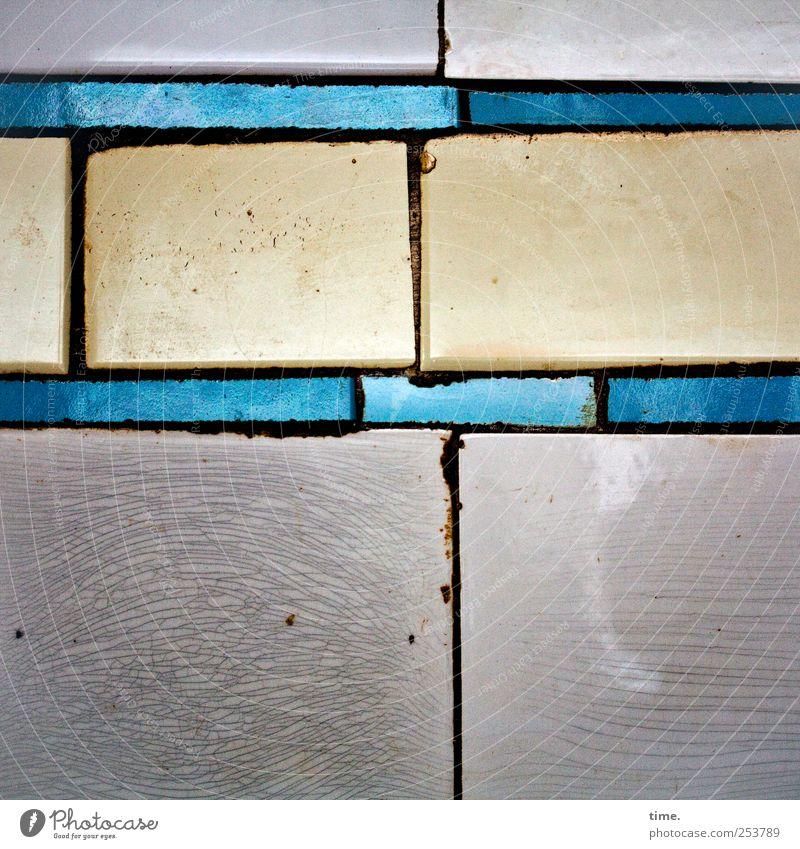 Stückwerk Dekoration & Verzierung Schmuck alt glänzend leuchten blau gelb grau Fliesen u. Kacheln Wand Fuge verfallen verwittert vertikal horizontal Kästchen