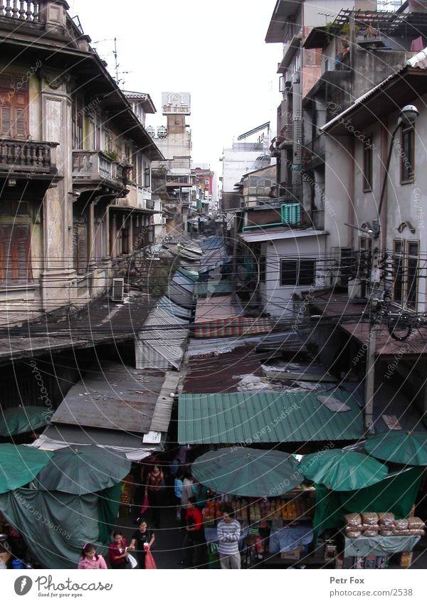 Bangkok City Mensch Stadt Thailand Erfolg Dach Markt Bangkok Chinatown