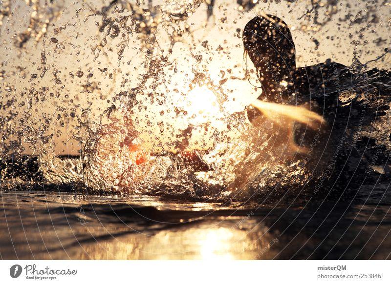 Platsch-Quatsch V Kunst ästhetisch Wasser Wassertropfen Wasseroberfläche Freiheit Schwerkraft spritzen nass Erfrischung Sommer Sommerurlaub Sommerabend Freibad