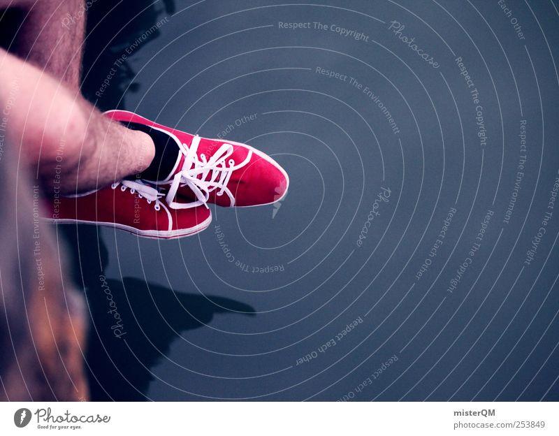 Neulich am See. blau rot ruhig Einsamkeit Erholung Beine Kunst Kraft Freizeit & Hobby ästhetisch Studium Perspektive Pause Zukunft Idylle