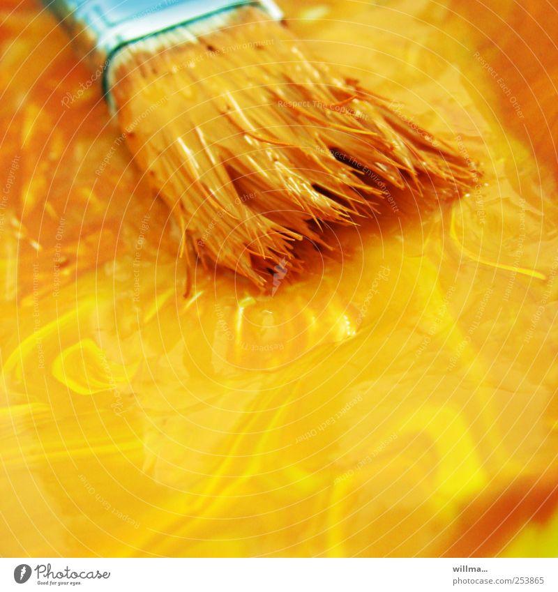 pinsel in gelber farbe Farbe Herbst Farbstoff Kunst orange Freizeit & Hobby streichen Gemälde türkis zeichnen Handwerk Pinsel Anstreicher Renovieren Maler