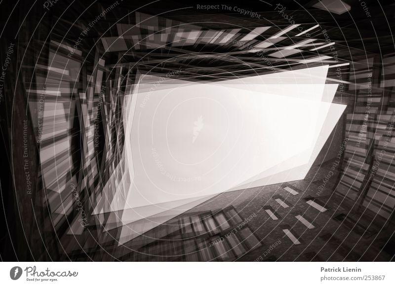 Trapped in a box Stadt Stadtzentrum Haus Hochhaus Bankgebäude Bauwerk Gebäude Architektur Doppelbelichtung Ecke Fenster abstrakt Zukunft Himmel Schwarzweißfoto