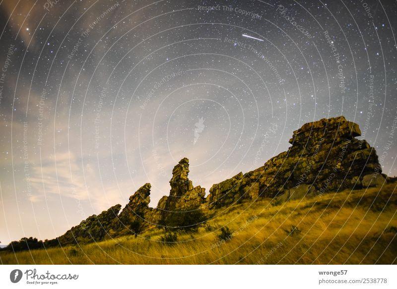 Sternenhimmel über der Teufelsmauer Himmel Natur Sommer blau Wolken gelb natürlich braun Felsen Nachthimmel Naturschutzgebiet Nachtaufnahme Harz Sternschnuppe