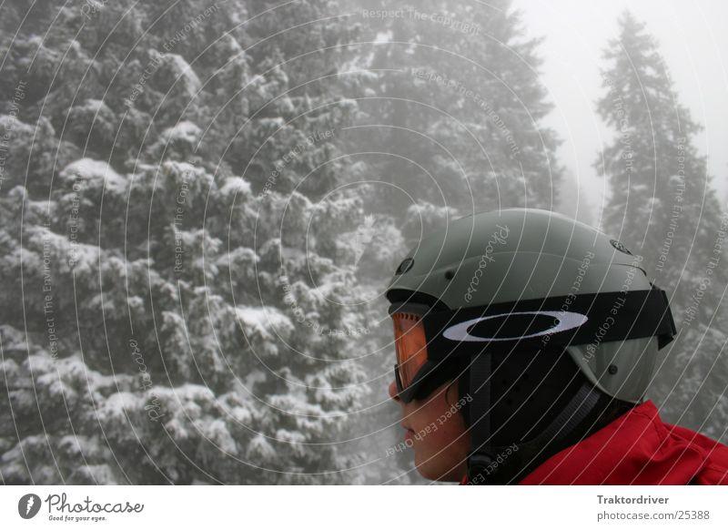Snöben Mensch Mann Winter Schnee Sport Nebel Schutz Sicherheit Tanne ernst Skifahrer Farbfleck Helm Logo Schutzhelm Winterwald