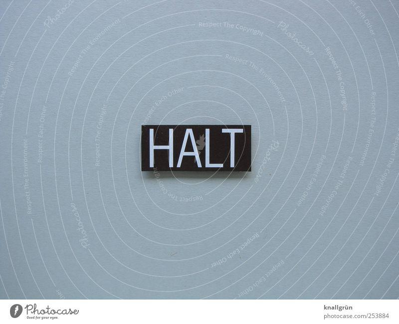 HALT weiß schwarz grau Schilder & Markierungen gefährlich Schriftzeichen Sicherheit bedrohlich Kommunizieren Schutz Wachsamkeit Verbote eckig Halt Vorsicht