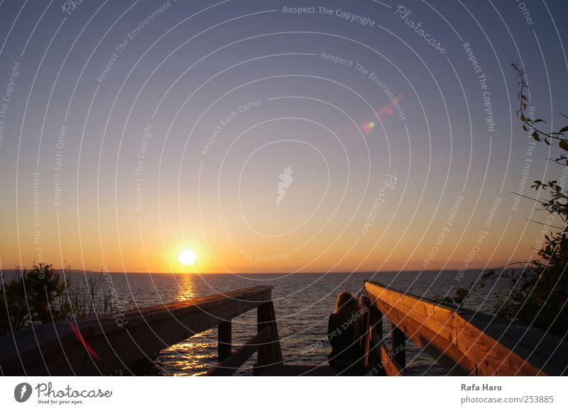 blau Wasser Sonne Sommer Meer Strand Ferne gelb Erholung Landschaft Freiheit Luft träumen Horizont gold frei