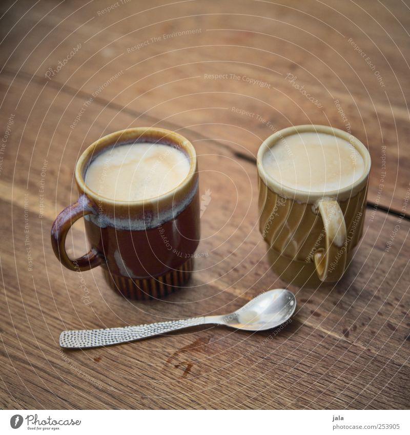 moin! kaffee? Lebensmittel Frühstück Getränk Heißgetränk Kaffee Latte Macchiato Tasse Löffel lecker braun Farbfoto Innenaufnahme Menschenleer Textfreiraum oben