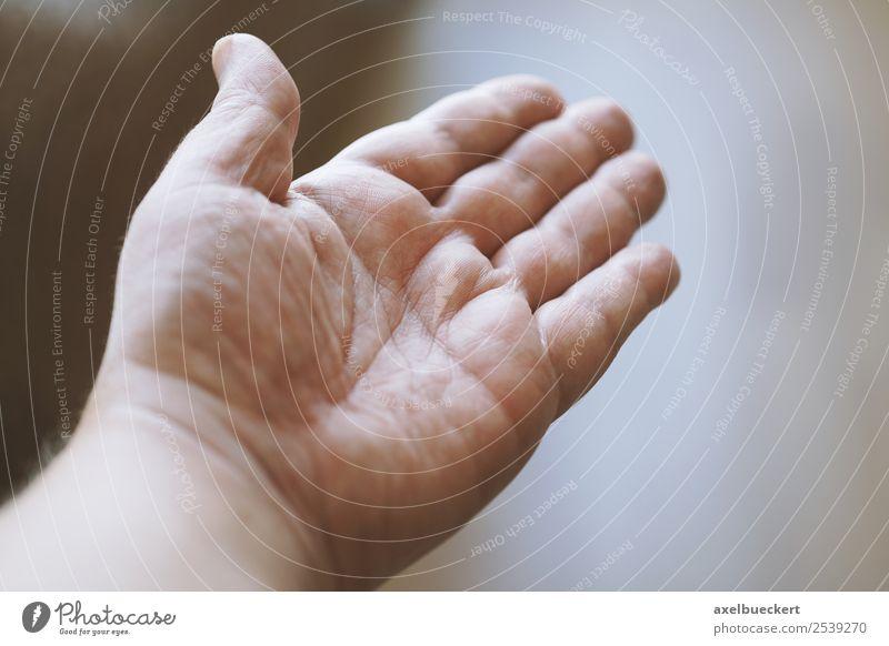 männliche offene Hand Mensch maskulin Mann Erwachsene Finger authentisch Handfläche gestikulieren Hilfsbereitschaft zeigen Farbfoto Gedeckte Farben