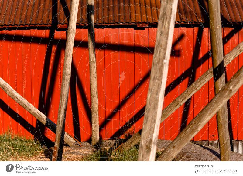 Rorbu in Å falunrot Fischereiwirtschaft Fischereihafen Fischerhütte maritim Natur Norwegen Ferien & Urlaub & Reisen Reisefotografie Schweden Skandinavien Hütte