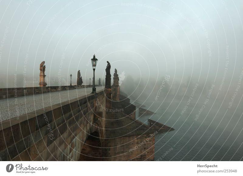 Nebelbrücke alt schön Baum Stadt schwarz grau braun Brücke Fluss Bauwerk gruselig Denkmal Statue Wahrzeichen Flussufer