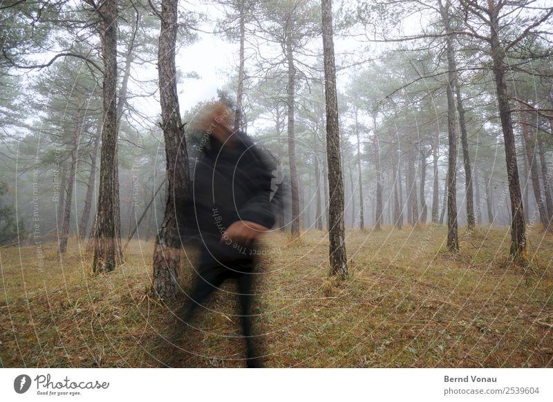 Unscharfe Gestalt rennt durch den Wald Mensch 1 Umwelt Natur Herbst Wetter Nebel Pflanze Baum Gras laufen rennen Flucht Unschärfe Joggen grau Stimmung ungenau