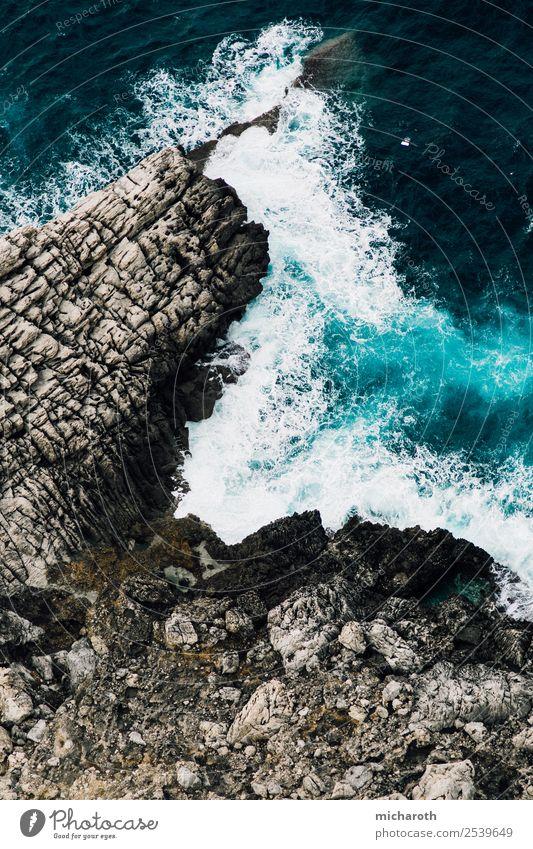 Wellen gegen Felsen Angeln Ferien & Urlaub & Reisen Ausflug Abenteuer Ferne Freiheit Meer Umwelt Natur Wasser Klima Klimawandel schlechtes Wetter Unwetter Sturm