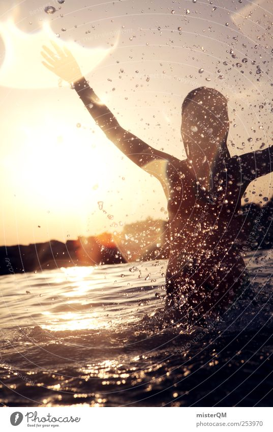 Sommer! Frau Jugendliche Sonne Ferien & Urlaub & Reisen Meer Sommer Freude Freiheit Freizeit & Hobby Schwimmen & Baden Wassertropfen ästhetisch Fröhlichkeit Aktion Schönes Wetter Lebensfreude