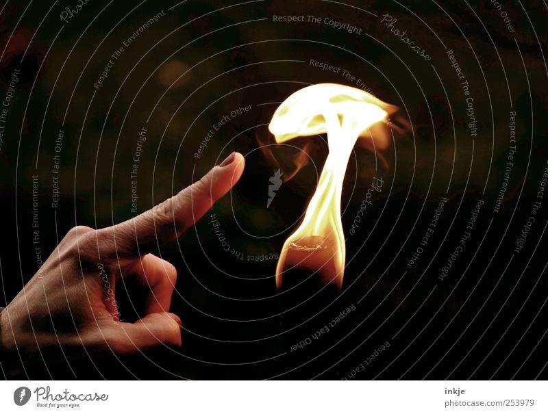 Spiel mit dem Feuer... Hand dunkel Leben Spielen Gefühle Wärme Stimmung hell Freizeit & Hobby Finger Neugier heiß berühren Kontakt entdecken