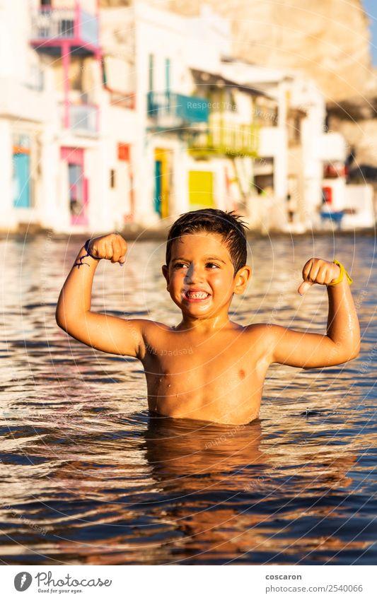 Kind Mensch Natur Ferien & Urlaub & Reisen Sommer schön grün Meer Freude Strand Lifestyle Leben natürlich Gefühle Küste Glück