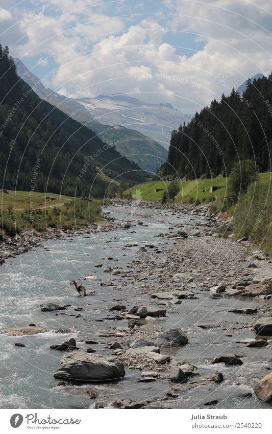 Schweiz Fluss Berge Natur Landschaft Himmel Wolken Sommer Schönes Wetter Baum Gras Hügel Felsen Berge u. Gebirge groß blau grau grün Ferien & Urlaub & Reisen