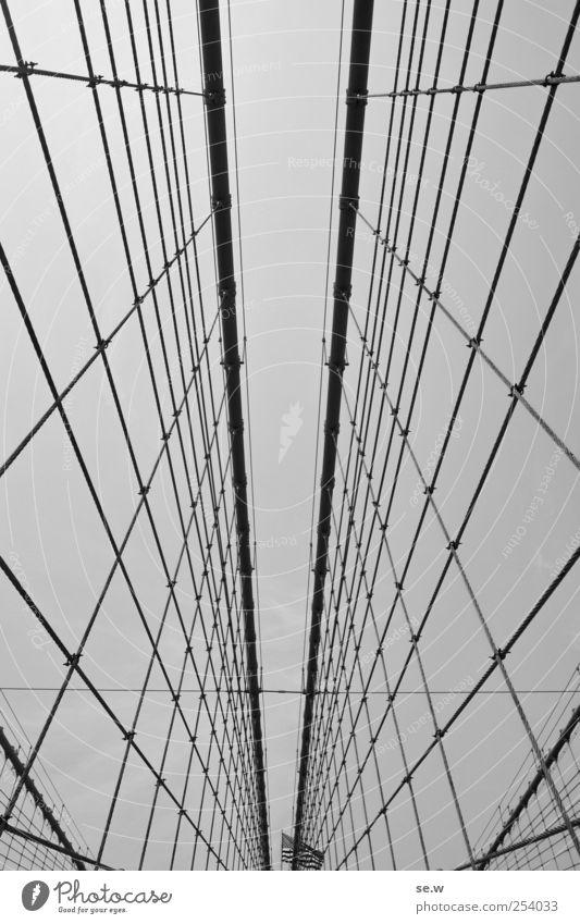 Im Netz Ferne Linie Seil Tourismus Brücke Fahne Stars and Stripes New York City Brooklyn Bridge