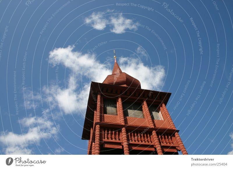 Kirche in den Himmel rot Holz Religion & Glaube Architektur Schweden antik Skandinavien verziert Putztuch