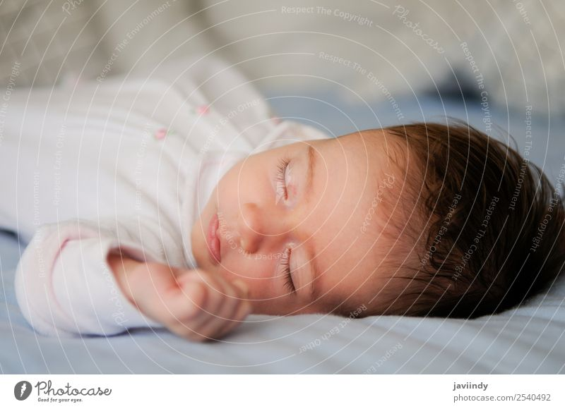 Neugeborenes Baby Mädchen im Schlaf Glück schön Gesicht Leben Kind Mensch Frau Erwachsene Eltern Kindheit 1 0-12 Monate schlafen klein niedlich weiß unschuldig