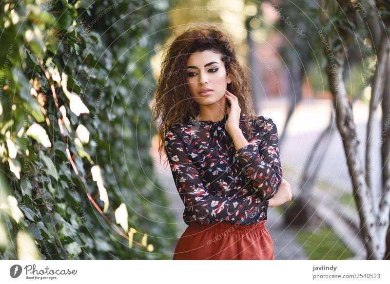 Schöne junge arabische Frau mit schwarzer lockiger Frisur Lifestyle Stil schön Haare & Frisuren Mensch feminin Junge Frau Jugendliche Erwachsene 1 18-30 Jahre