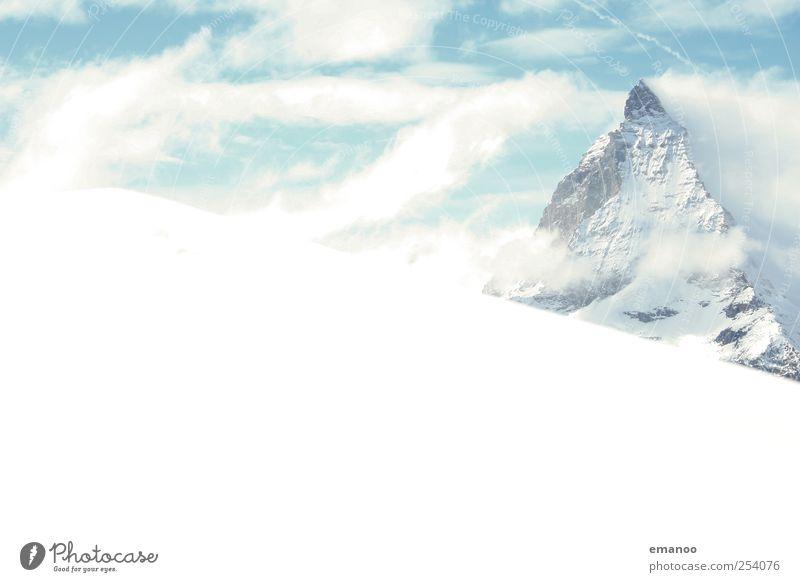 Matterhorn Ferien & Urlaub & Reisen weiß Wolken Winter Berge u. Gebirge Schnee hell Felsen Wetter Eis Tourismus wandern hoch Spitze Klima Abenteuer
