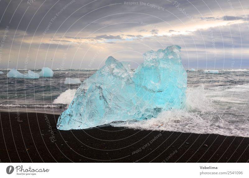 Eis am Joekulsarlon, Island Natur Ferien & Urlaub & Reisen Wasser Landschaft Meer Erholung Wolken kalt See Wellen Abenteuer Urelemente Frost Meditation Sturm