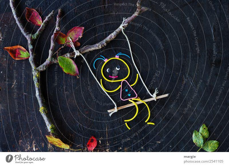 Gummiwürmer: Schaukel Kind Mensch grün Baum Mädchen feminin braun