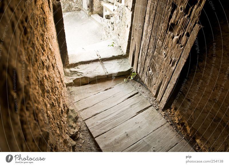 rein Burg oder Schloss Ruine Bauwerk Mauer Wand Tür Bodenbelag Türrahmen Tor alt braun Verfall Vergangenheit Vergänglichkeit Ausgang Eingang Holz Holzbrett