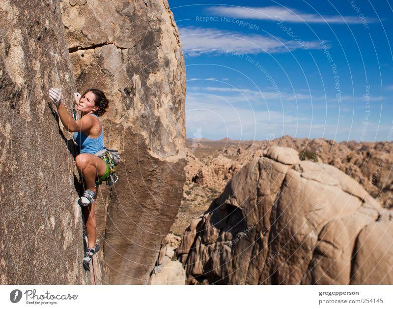 Weibliche Klettererin, die sich an eine Klippe klammert. Abenteuer Sport Klettern Bergsteigen Erfolg Seil Junge Frau Jugendliche 1 Mensch 18-30 Jahre Erwachsene