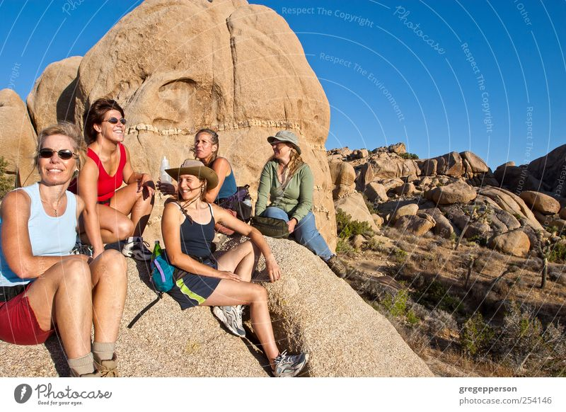 Gruppe von Frauen beim Wandern. Leben Abenteuer wandern Sport Klettern Bergsteigen feminin Erwachsene Freundschaft 5 Mensch 30-45 Jahre Gipfel sportlich