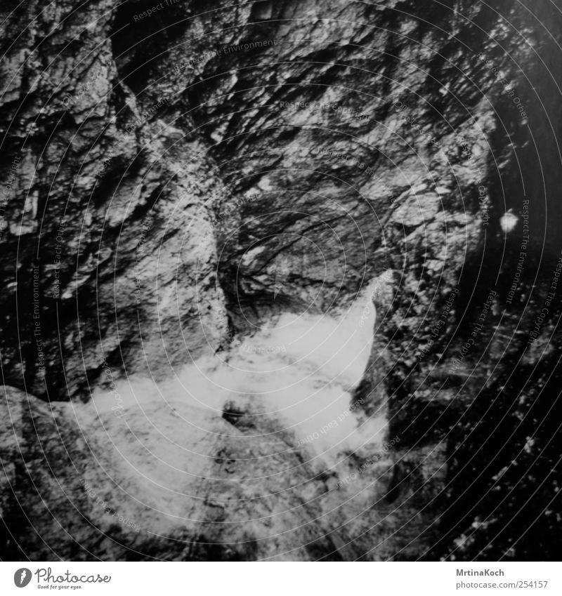 into waters. Umwelt Natur Wasser Felsen Alpen Berge u. Gebirge Wellen Bach Fluss Wasserfall authentisch Toleranz Leben Stein Tal Schlucht Schwarzweißfoto
