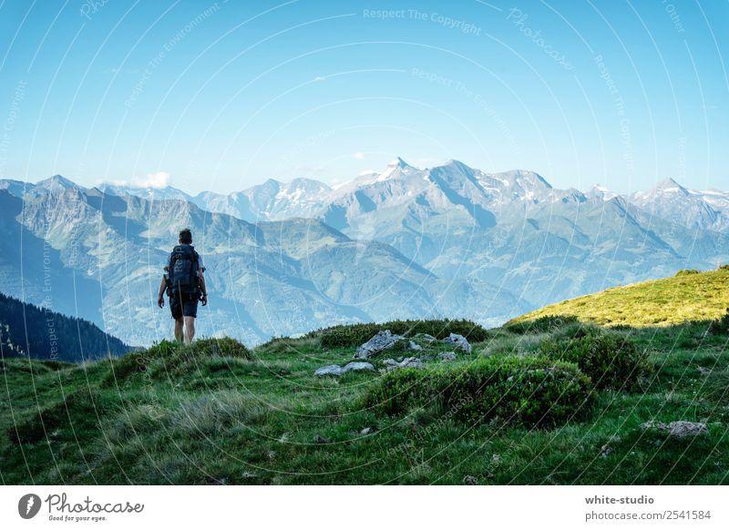 The lonely wanderer Ferien & Urlaub & Reisen Tourismus Ausflug Abenteuer Ferne Freiheit Expedition Camping Sommerurlaub Berge u. Gebirge wandern Mann Erwachsene