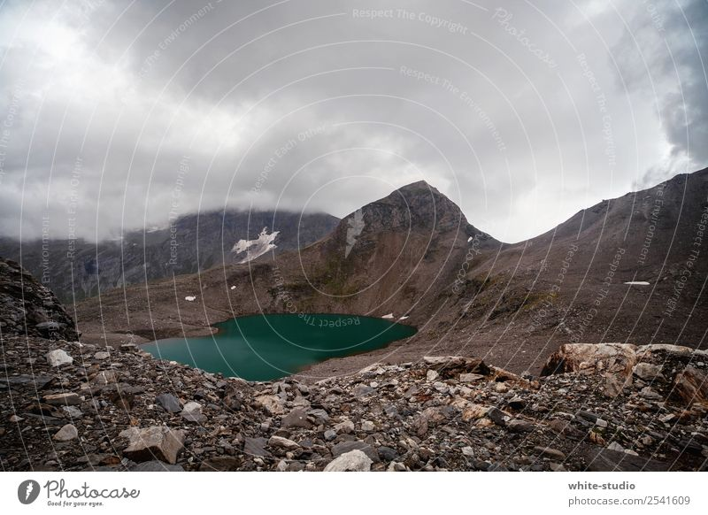 Bergsee Natur Landschaft Berge u. Gebirge Umwelt See wandern Nebel Wetter Gipfel Unwetter Gletscher schlechtes Wetter Naturschutzgebiet Gebirgssee Wandertag