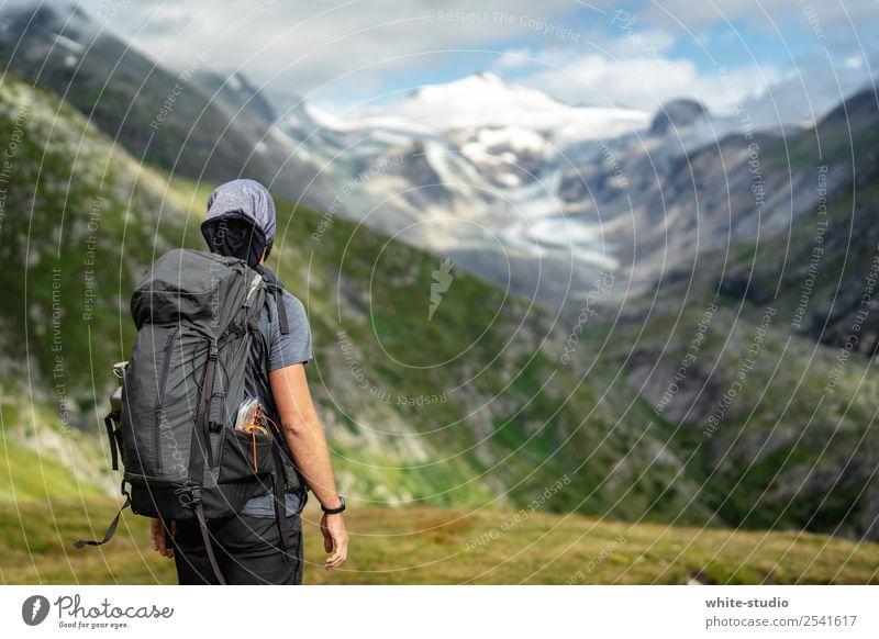 Da rauf? Natur Mann Landschaft Einsamkeit Berge u. Gebirge Erwachsene Ausflug wandern Aussicht Abenteuer Schneebedeckte Gipfel Sommerurlaub Österreich