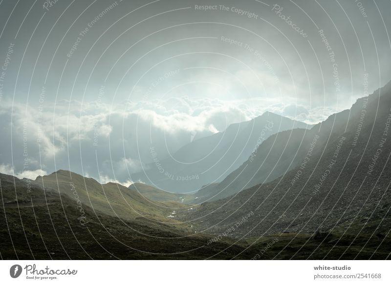 Düsterland Umwelt Natur Landschaft wandern Panorama (Aussicht) Berge u. Gebirge Nebel Wolken dunkel Hügel Bergkette Tal Alpen Alpenvorland Wandertag