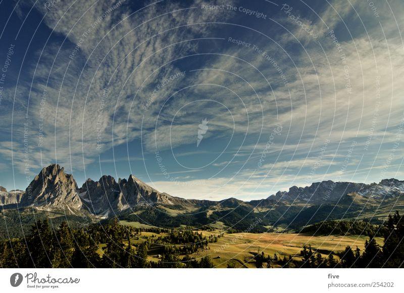 seiser alm Umwelt Natur Himmel Wolken Herbst Klima Wetter Schönes Wetter Pflanze Baum Wiese Wald Hügel Felsen Alpen Berge u. Gebirge Gipfel Ferne Südtirol