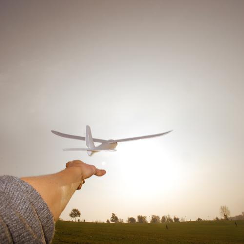 learning to fly Mensch maskulin Arme Hand Finger Umwelt Natur Landschaft Luft Wiese fliegen Flugzeug Segelflugzeug Horizont Flugzeugstart Selbstständigkeit