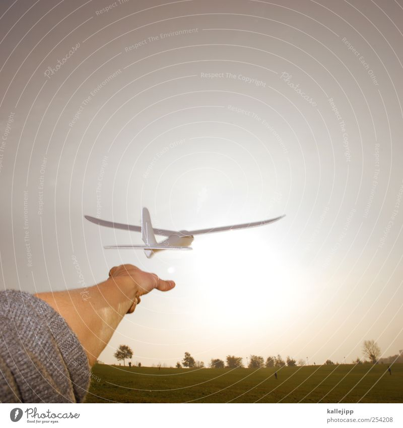 learning to fly Mensch Natur Hand Wiese Freiheit Umwelt Landschaft Luft klein Horizont Arme fliegen Flugzeug maskulin Beginn Finger