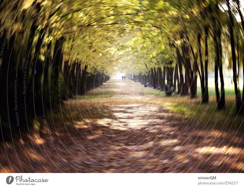 Herbstallee. Natur Blatt Einsamkeit Erholung Park Kunst Zufriedenheit Freizeit & Hobby Wind Zusammensein ästhetisch Spaziergang Idylle Herbstlaub verloren