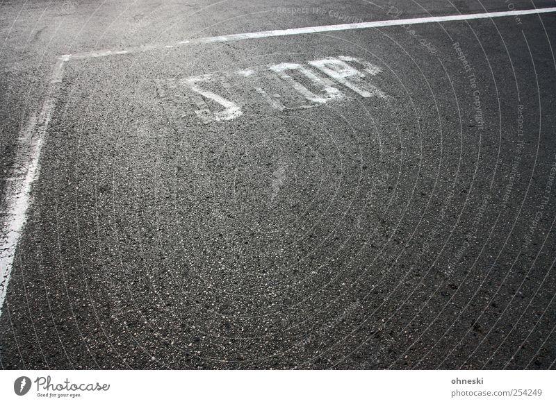 Stop Straße Linie Schilder & Markierungen Verkehr Schriftzeichen stoppen Verkehrswege Verbote Straßenverkehr Verkehrsschild Verkehrszeichen Stoppschild