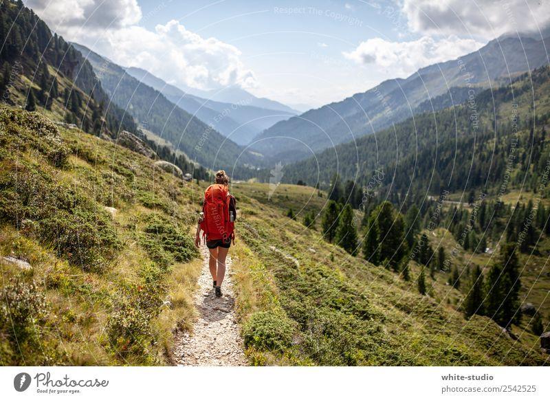 The wanderer Frau Mensch Ferien & Urlaub & Reisen Jugendliche Sommer Berge u. Gebirge 18-30 Jahre Gesundheit Erwachsene Wege & Pfade Tourismus Ausflug wandern
