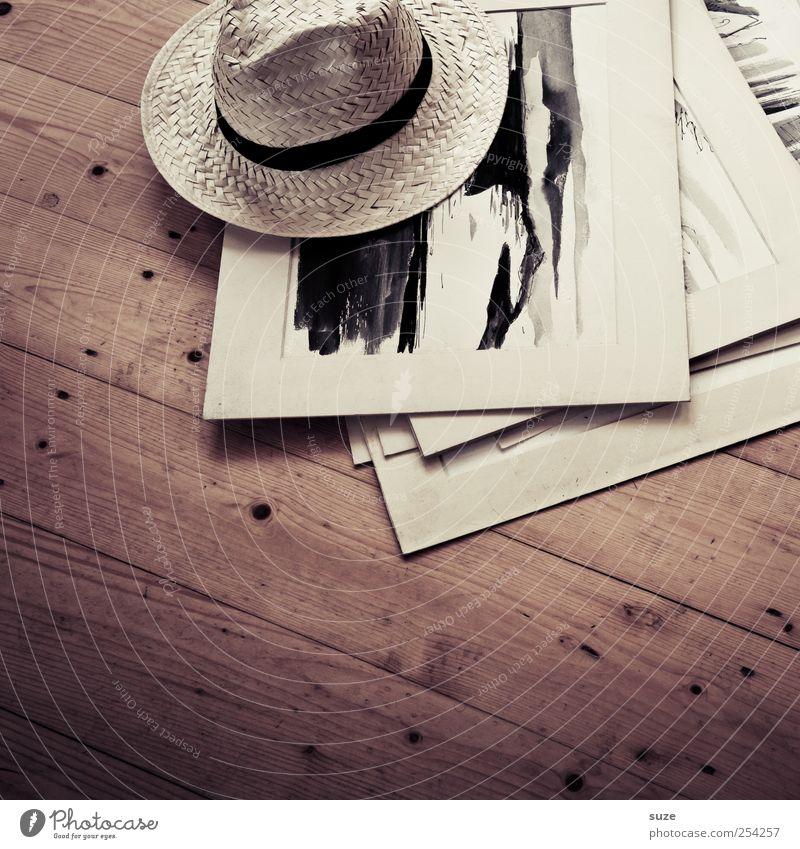 Künstlerbedarf Kunst Hut Holz Tod Einsamkeit Pause Bodenbelag Holzfußboden Flur Parkett Aquarell Bild Erbe Strohhut Papier Sammlung Maserung diagonal
