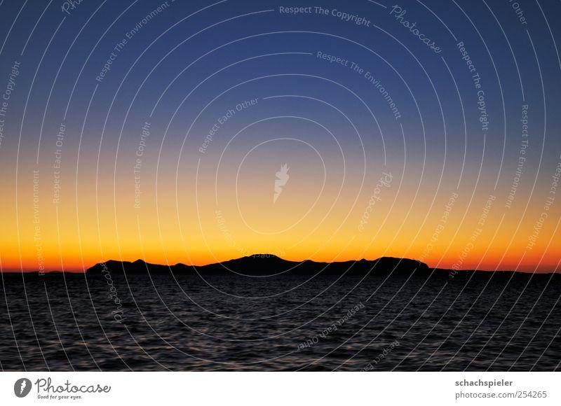 Sonnenuntergang über der Ägäis Meer Insel Wellen Wasser Himmel Wolkenloser Himmel Horizont Sonnenaufgang oben blau gelb Romantik Sehnsucht Mittelmeer orange