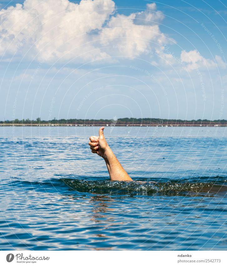 Die Hand des Mannes ragt aus dem Wasser. Ferien & Urlaub & Reisen Sommer Meer Erfolg Schwimmen & Baden Erwachsene Finger Natur Himmel Bewegung gut blau weiß