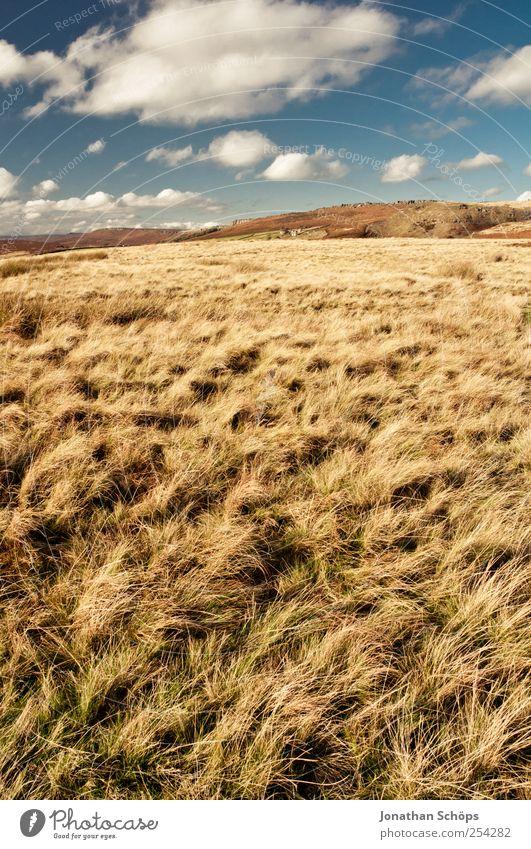 Peak District I Umwelt Natur Landschaft Erde Himmel Sommer Herbst Schönes Wetter Hügel blau braun gelb gold Feld Gras Berge u. Gebirge England Außenaufnahme