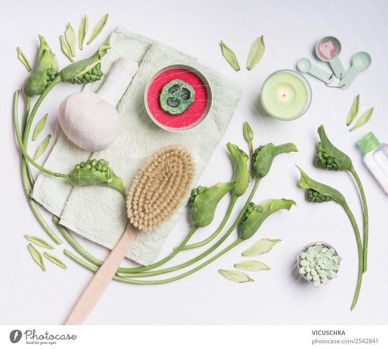 Spa Behandlung zu Hause kaufen Design schön Körperpflege Kosmetik Gesundheit Gesundheitswesen Wellness Massage Natur Kerze Blumenstrauß Orangenhaut Bürste