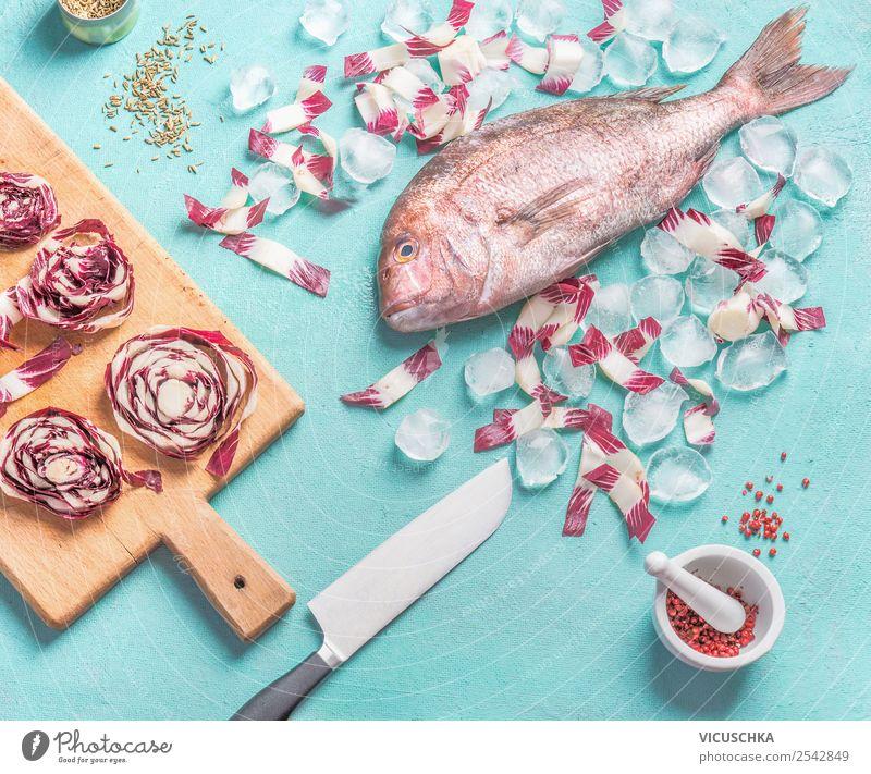 Rosa Dorado Fisch mit Messer und Zutaten Lebensmittel Gemüse Kräuter & Gewürze Ernährung Bioprodukte Vegetarische Ernährung Diät Stil Design Gesunde Ernährung