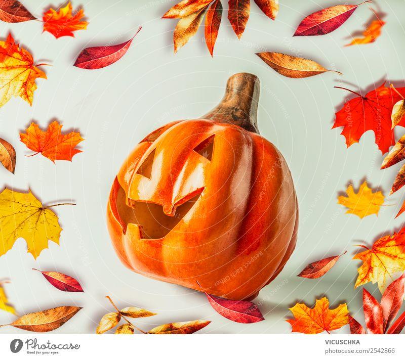 Lustiger Halloween Kürbiskopf mit Herbstlaub Design Freude Erntedankfest Natur Blatt Dekoration & Verzierung Stil Tradition Symbole & Metaphern grinsen Kopf