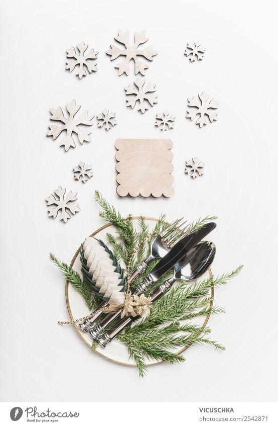 Weihnachten Tischgedeck Ernährung Festessen Geschirr Teller Besteck kaufen Stil Design Winter Party Veranstaltung Feste & Feiern Weihnachten & Advent