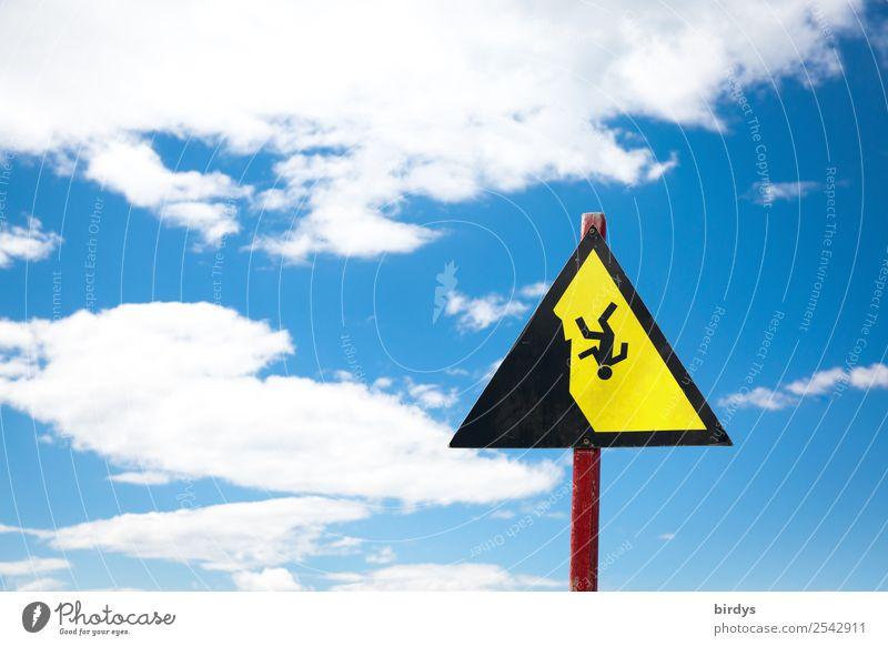 Abstürze gibts immer wieder Himmel Wolken Zeichen Hinweisschild Warnschild fallen authentisch Unendlichkeit hoch blau gelb schwarz weiß träumen Angst Höhenangst